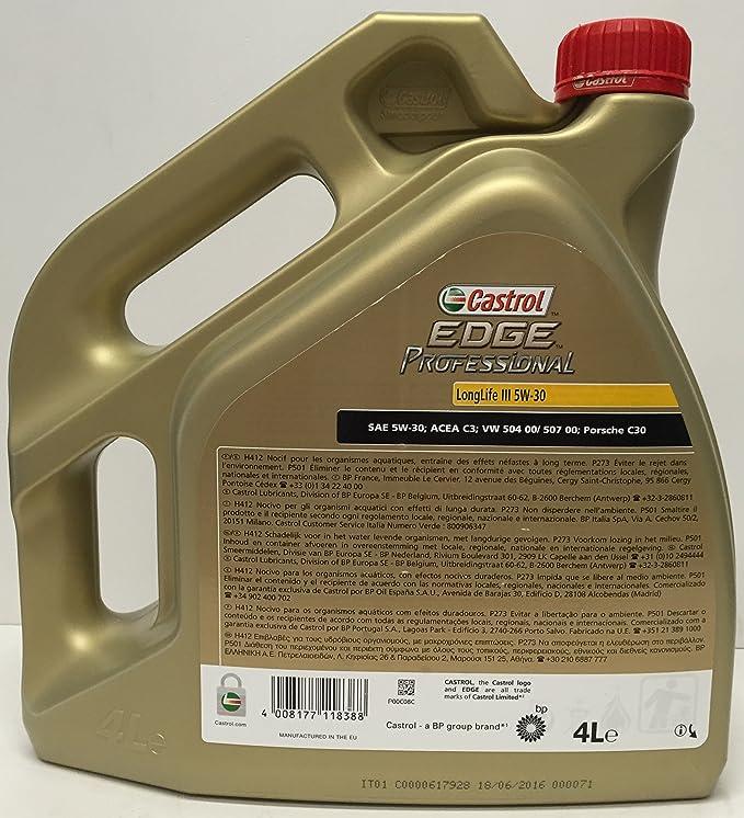 Aceite de motor Castrol EDGE PROFESSIONAL III 5W30 5 lts (1x4 lt + ...