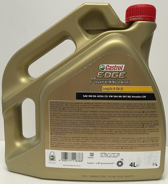 Aceite de motor Castrol EDGE PROFESSIONAL III 5W30 5 lts (1x4 lt + 1x1 lt): Amazon.es: Coche y moto