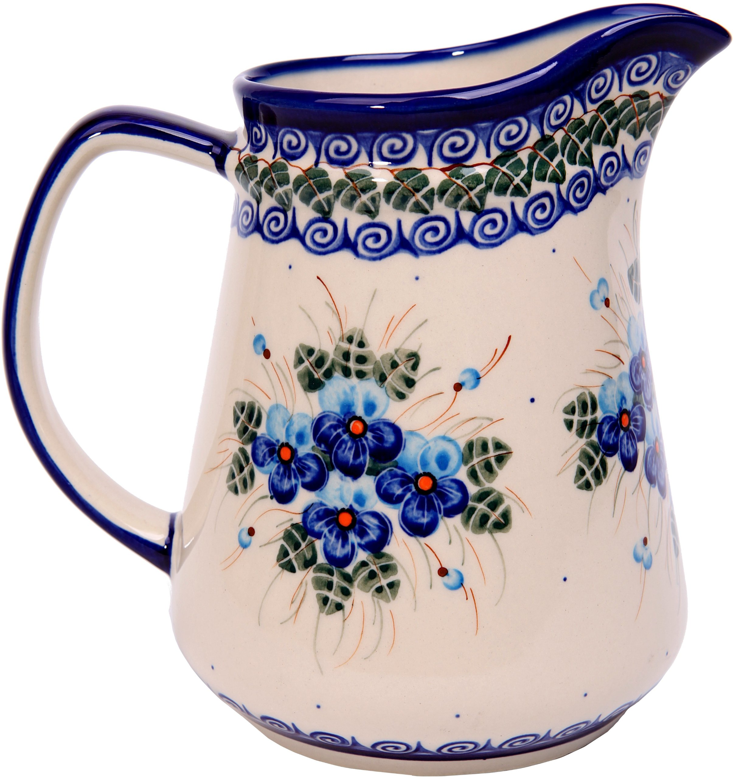 Polish Pottery Ceramika Boleslawiec, 0208/162, Pitcher Jacek 4, 5 1/2 Cups, Royal Blue Patterns with Blue Pansy Flower Motif