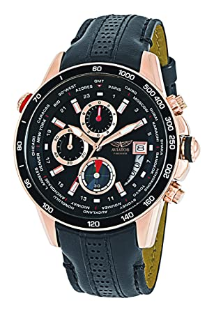 ba24b2ab9c47a9 VIATOR Men s Quartz Chronograph World Time Watch with Rose Gold Stainless  Steel Case WR 100m and