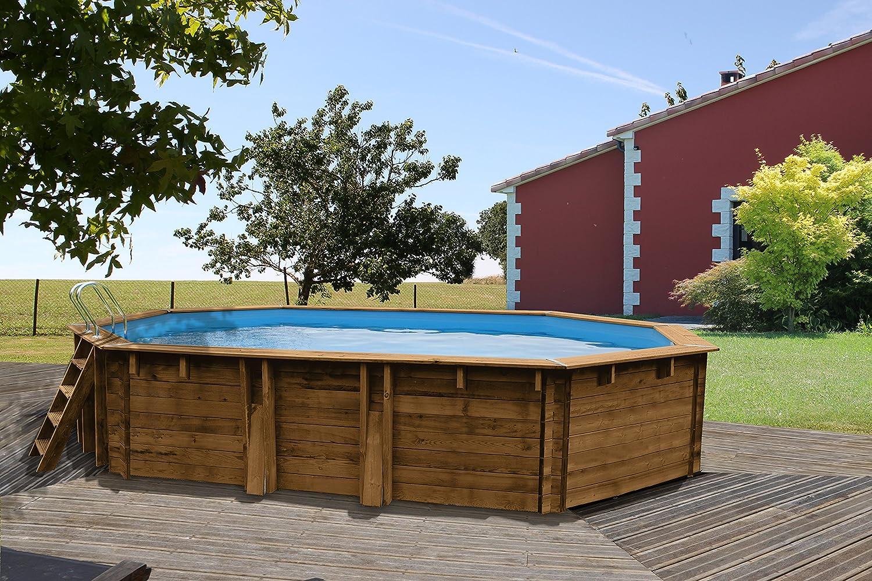 Gre 790089 - Piscina (Piscina con Anillo Hinchable, Hexagonal, 23000 L, Azul, Madera, 130 cm, FSC, PEFC): Amazon.es: Juguetes y juegos