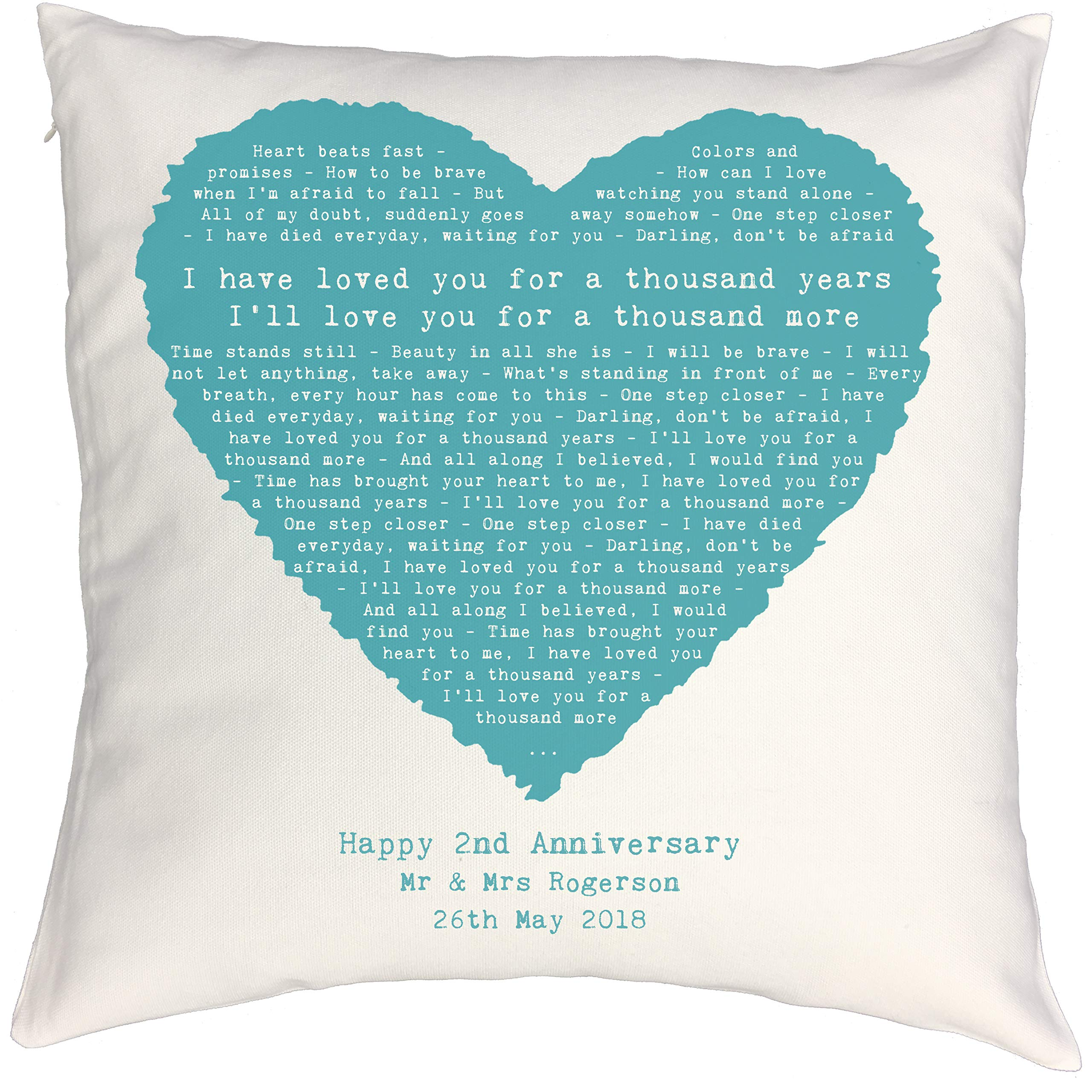 Not Just A Print - Heart Shaped Personalised Song Lyrics Cushion (Christina Perri - A Thousand Years, Twilight Theme)