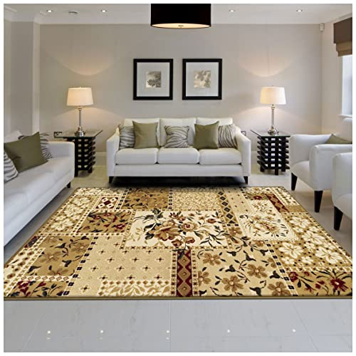 Superior Flower Patch Collection Area Rug, Beautiful Floral Patchwork Design, 10mm Pile with Jute Backing, Affordable Contemporary Rugs – 4 x 6 Rug