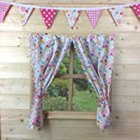 KIDS PLAYHOUSE CURTAINS ~ FLORAL SUMMER ~ INCLUDES FITTINGS ~ WENDY HOUSE/SUMMER HOUSE