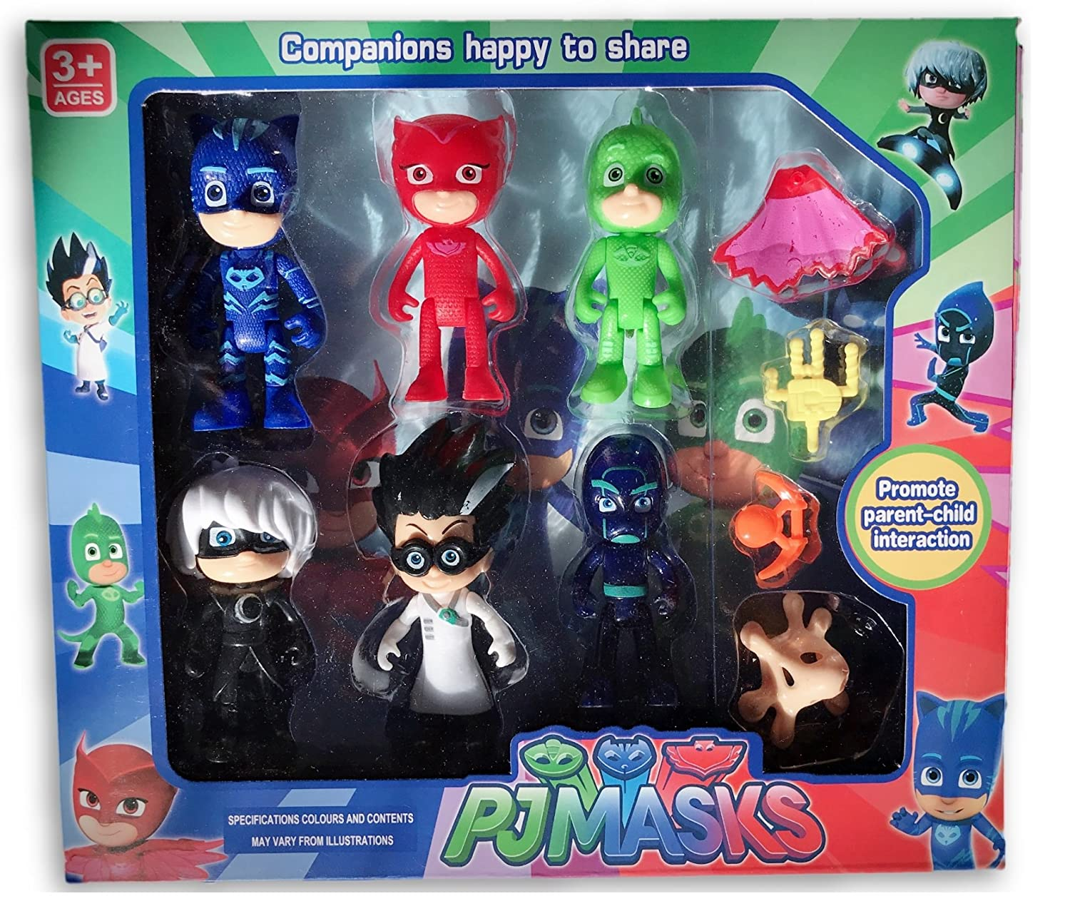 Amazon.com: Abbros PJ Masks Action Mini Figures Play Set Birthday Party Supplies Bundle 6 Pack - 3 inch - Catboy, Owlette, Gekko, Romeo, Luna Girl, ...