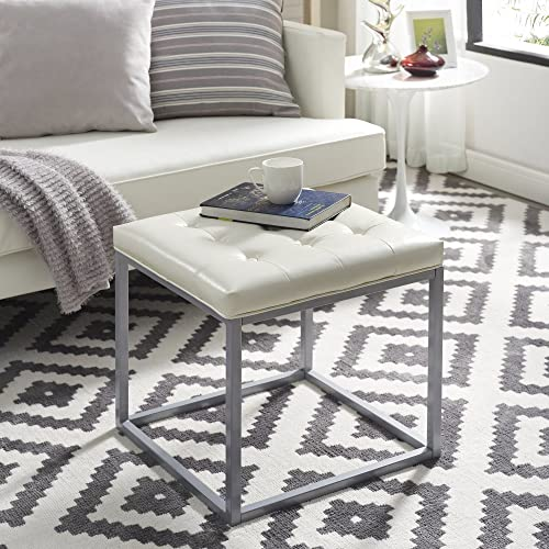 Inspired Home Newton Cream White Leather Ottoman – Metal Frame Button Tufted Modern Contemporary 1 pc ONLY