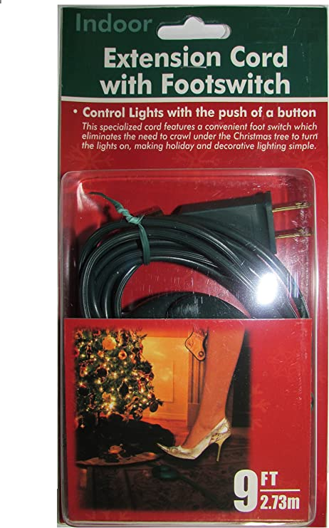 9 Foot Christmas Extension Cord With On Off Foot Switch Ul Listed Green Amazon Com