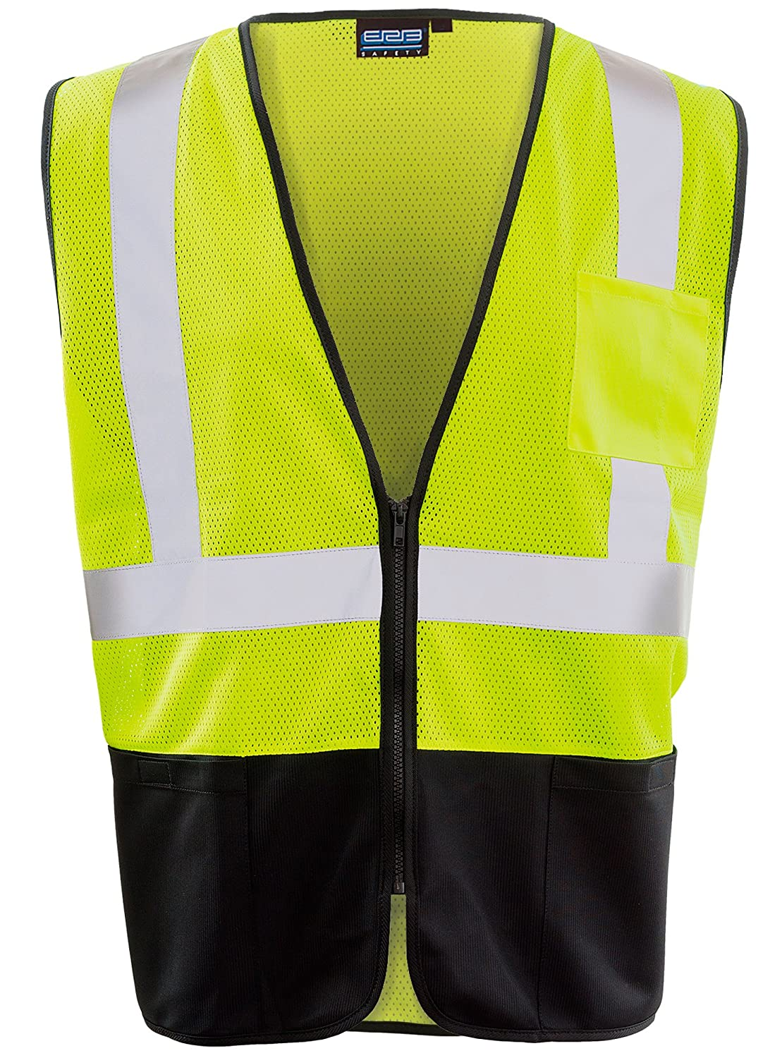 2XL ERB Safety Products 62253 ERB S3636PB HVL Zipper Economy Mesh Class 2 Vest Yellow