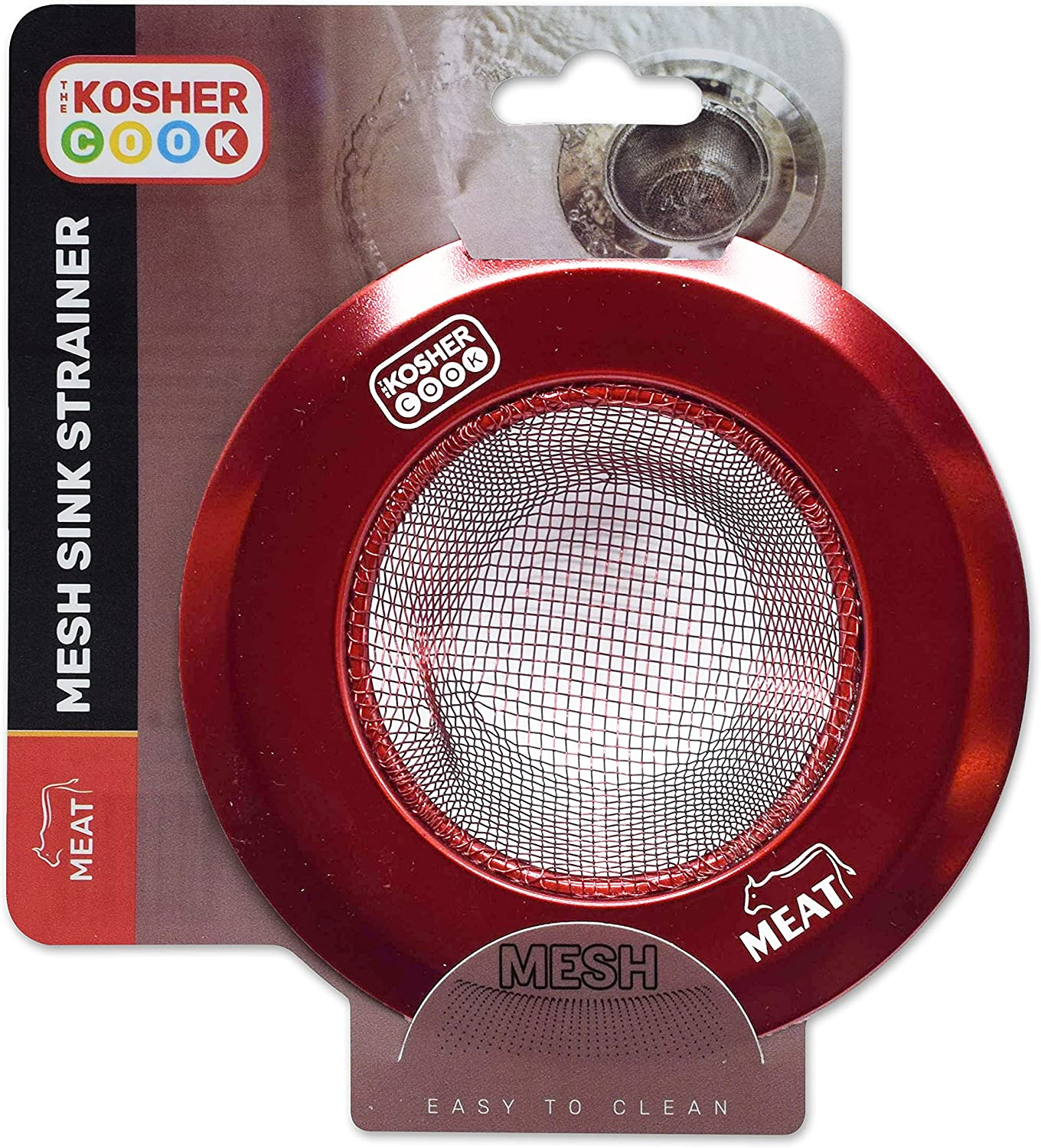 Meat Red Mesh Sink Strainer - Prevent Clogs and Stoppage in Kitchen Sink - Color Coded Kitchen Tools by The Kosher Cook