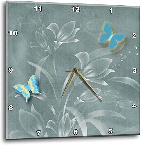 3dRose 3D Rose Pretty Damask Background in'sage Greens and Butterflies and Flowers-Wall Clock