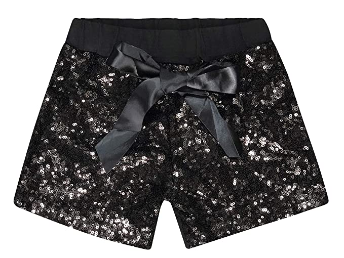 446bc4139 ILTEX Baby Girls Short Sequin Pants Bottoms with Bow Toddler (Black, M (1