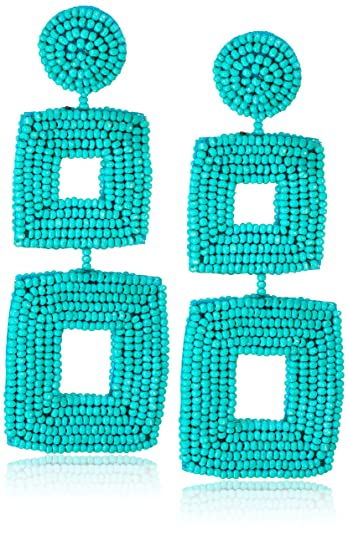 Kenneth Jay Lane Double Square Seed Bead Drop Earrings, Turquoise