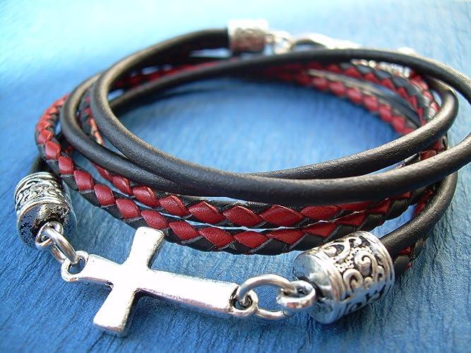 Amazon Com Leather Bracelet Red And Black Cross Bracelet Cross