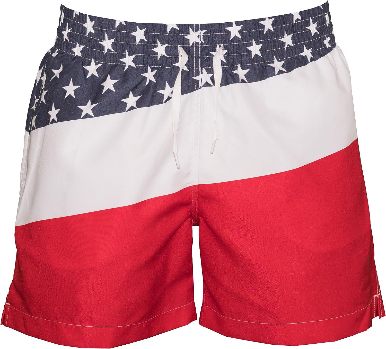 Meripex Apparel Men's Patriotic American Flag Swim Trunks: The Old Glory's