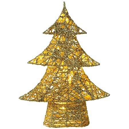 werchristmas pre lit gold christmas tree decoration with cotton warm white led lights 30