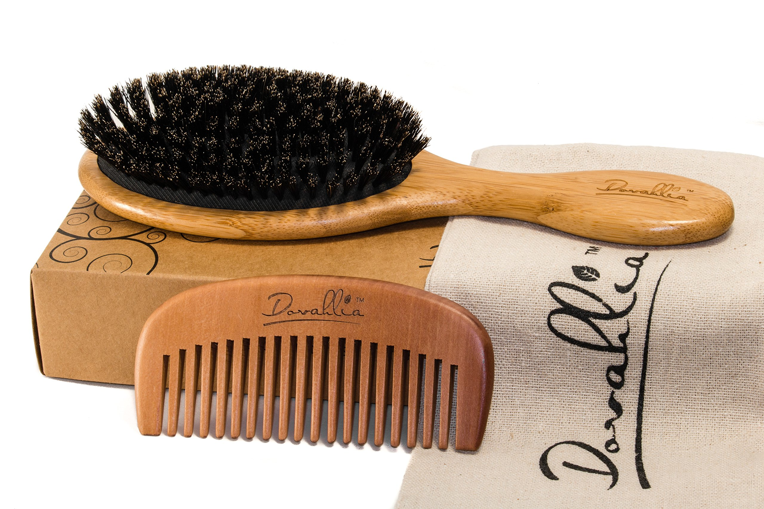 Boar Bristle Hair Brush Set for Women and Men - Designed for Thin and Normal Hair - Adds Shine and Improves Hair Texture - Wood Comb and Gift Bag Included (black) by Dovahlia