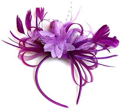b320231559899 Plum Magenta and Lilac Feather Hair Fascinator Headband Wedding ...