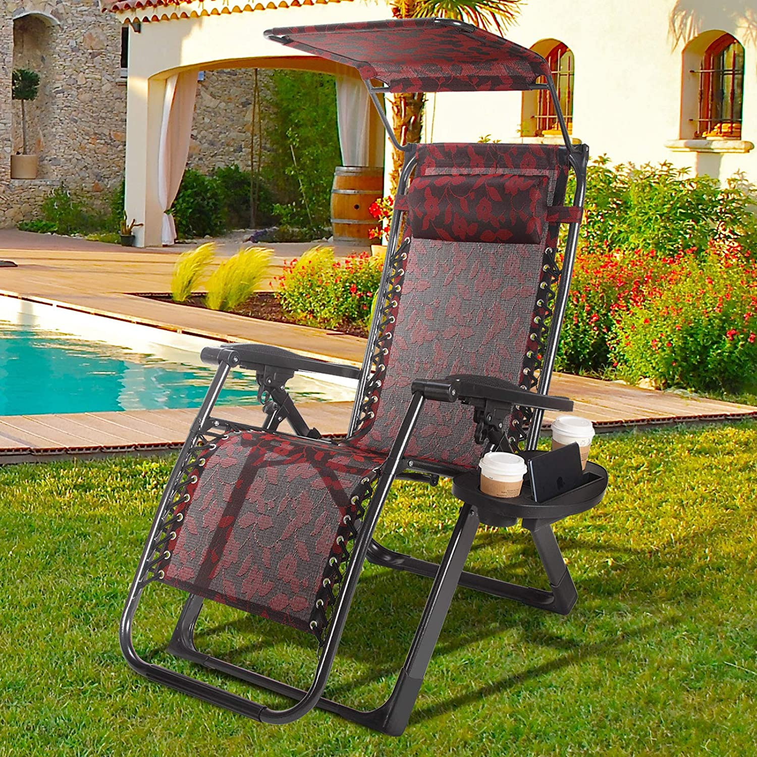 Heavy Duty Zero Gravity Lounge Chair Recliner Seats Durable Backrest Sunshade Canopy Cup Holder Tray Handle to Carry for Travel Beach Pool 1 Piece Chair
