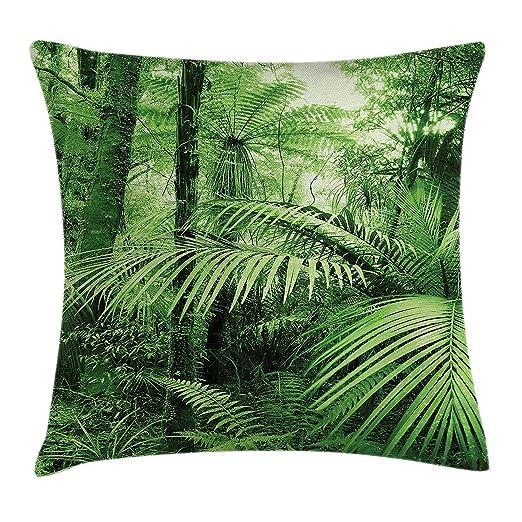 Fringcoook Rainforest Funda de cojín, palmeras y plantas ...