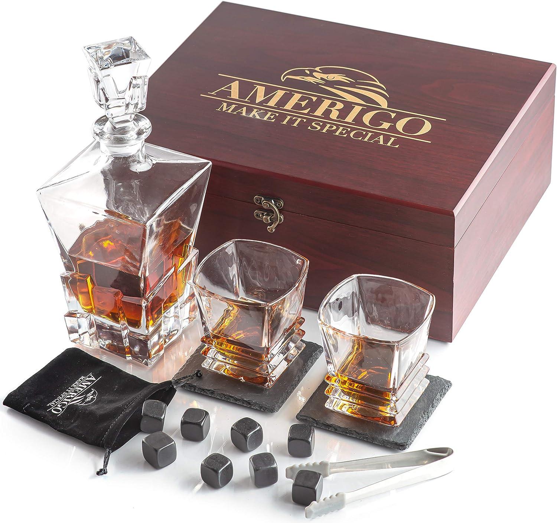 8 Cubitos de Hielo Reutilizable Dia del Padre Regalos Regalos Hombre Posavasos Originales Whiskey Stones Set Amerigo Whisky Piedras Set de Regalo y 2 Vasos de Whisky con Decanter Whisky