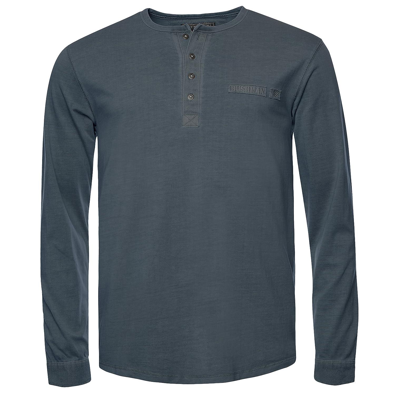 BUSHMAN Herren Outdoor Freizeit Langarm Shirt HOBART Shirt Unifarben aus reiner Baumwolle in Dunkelgrau