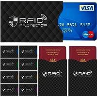 TRAVANDO ® Design RFID & NFC Schutzhüllen (12er Set) für Bankkarte, Personalausweis, Kreditkarten, EC-Karten, Reisepass Schutz vor Auslesen von Funk-Chips + 10 Farb-Sticker