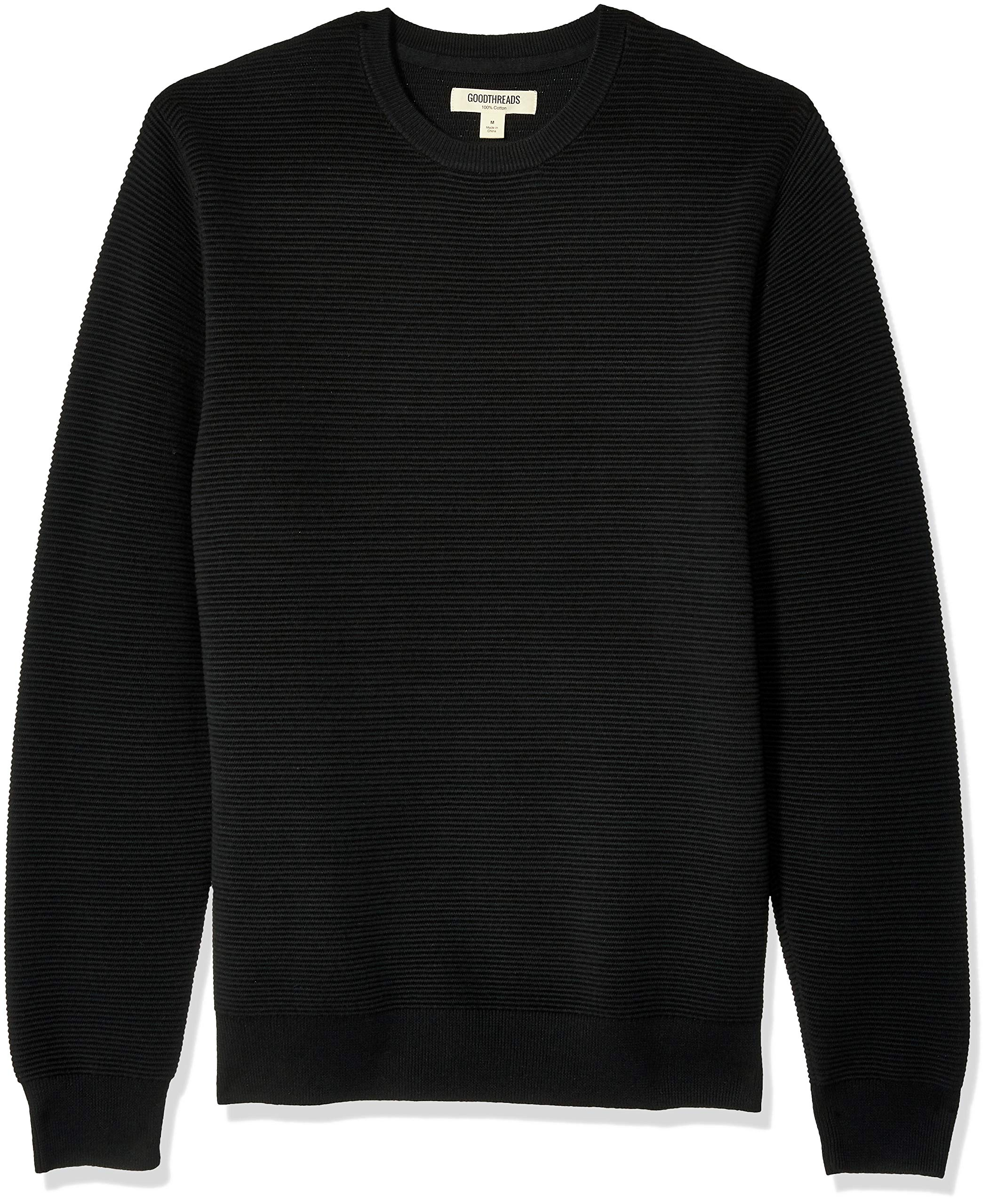 Goodthreads Men's Soft Cotton Ottoman Stitch Crewneck Sweater, Black Large