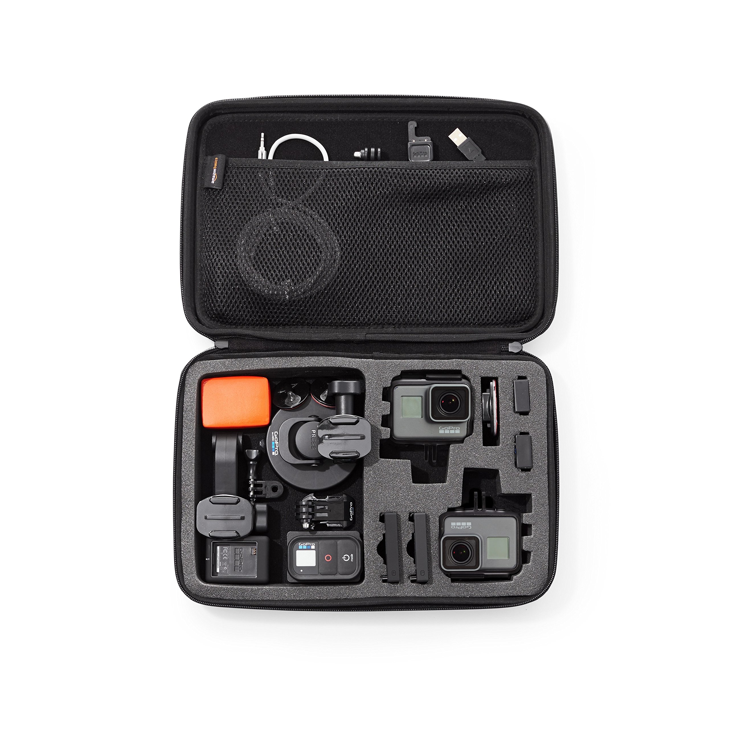 AmazonBasics Large Carrying Case for GoPro And Accessories - 13 x 9 x 2.5 Inches, Black by AmazonBasics