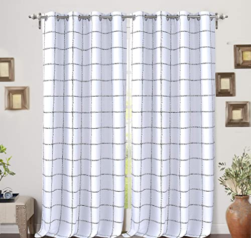 DriftAway Plaid Pattern Thermal Insulated Blackout Window Curtain Grommet 2 Panels 2 Layers 52 Inch by 84 Inch Black