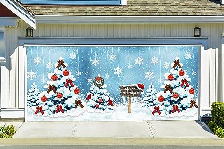 merry christmas garage door cover full color christmas door murals holiday outdoor decor christmas tree double