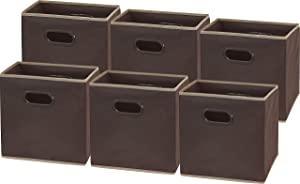 6 Pack - SimpleHouseware Foldable Cube Storage Bin with Handle, Brown (12-Inch Cube)