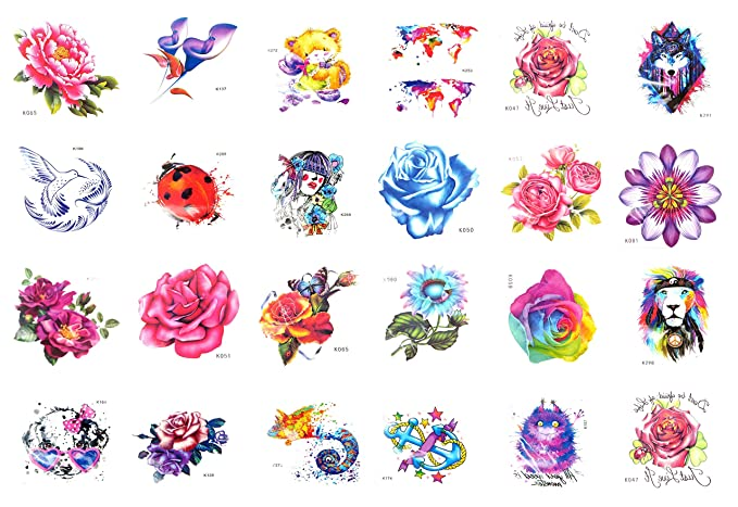 Amazon.com: 24 sheets temporary tattoo world map floral ...