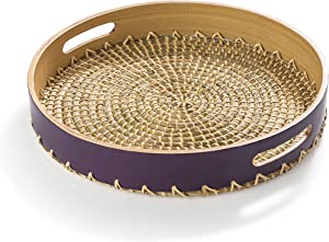 KAMEL BINKY Round Serving Tray | Bamboo Seagrass Rattan | Wicker Woven | Decorative for Coffee Table Ottoman | Built-in handles | 13.8 inch x 2 inch | Violet Natural Rattan strings