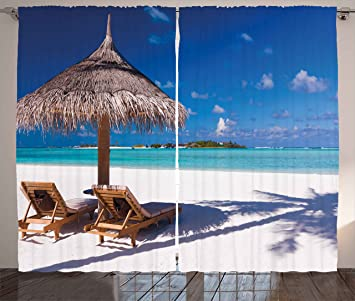 Amazon Com Ambesonne Landscape Curtains Island Caribbean Honeymoon