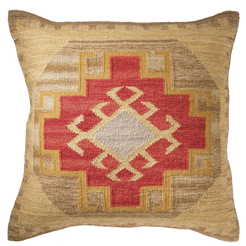 Indian Arts Kissenbezug, Fair-Trade-Produkt, handgefertigt, 80% Wolle   20% Baumwolle, erhältlich in 2 Größen und 2 Farben, natur, 60x60