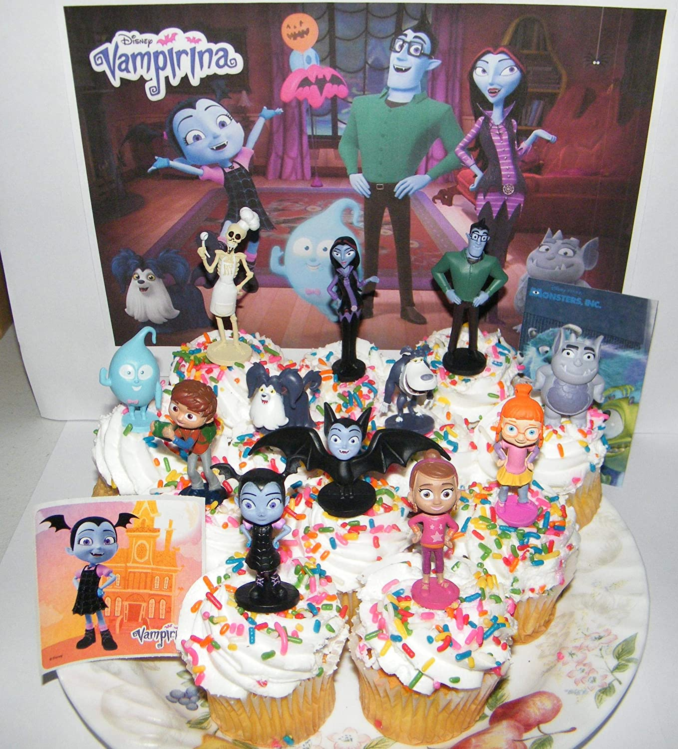 Disney Vampirina Deluxe Cake Toppers Cupcake Decorations Set of 14 with 12 Figures and 2 Fun Stickers Featuring Family, Friends, Wolfie, Demi the ...