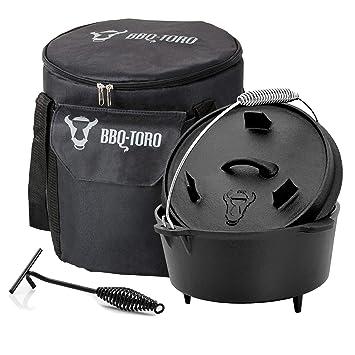 BBQ-Toro Dutch Oven Set 3 Piezas I 4.5 QT Horno holandés + Bolsa de ...