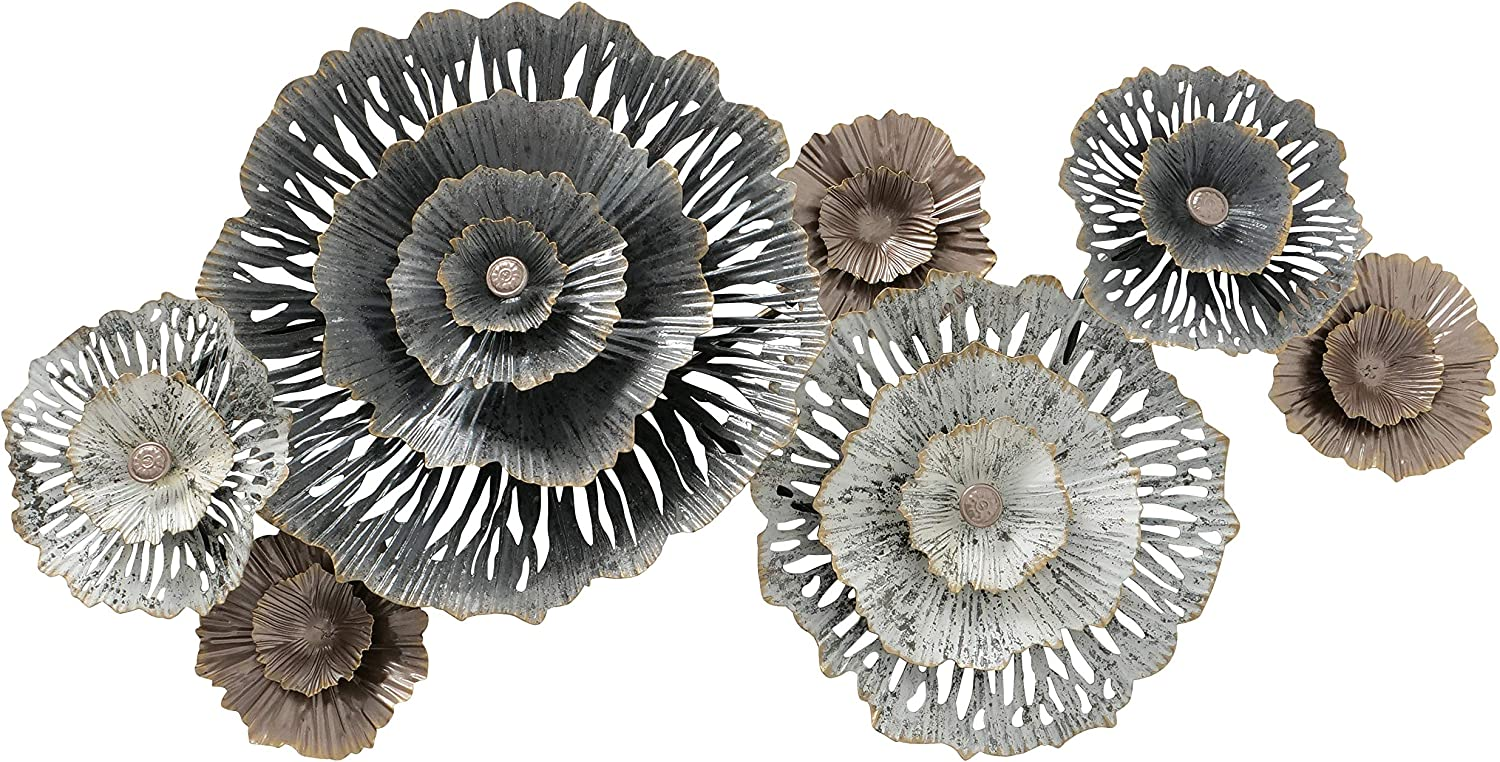 Modernist Floating Flowers Wall Decor Art, Gold, Coppery-Champagne, and Rustic Grey Roundels with White Patina, Crinkle Details, Hand Welded, Painted, Powder Finish, Iron, 36.25 x 21.75 Inches