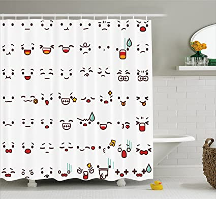 Ambesonne Emoji Shower Curtain By Collection Of Lovely Emoticon Cartoon Faces Like Happy Sad Angry