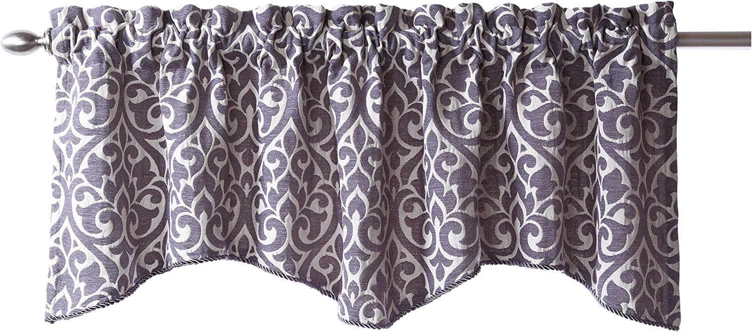 Stylemaster Twill and Birch Bryce Chenille Scalloped Valance with Cording, 55 by 17-Inch, Pewter