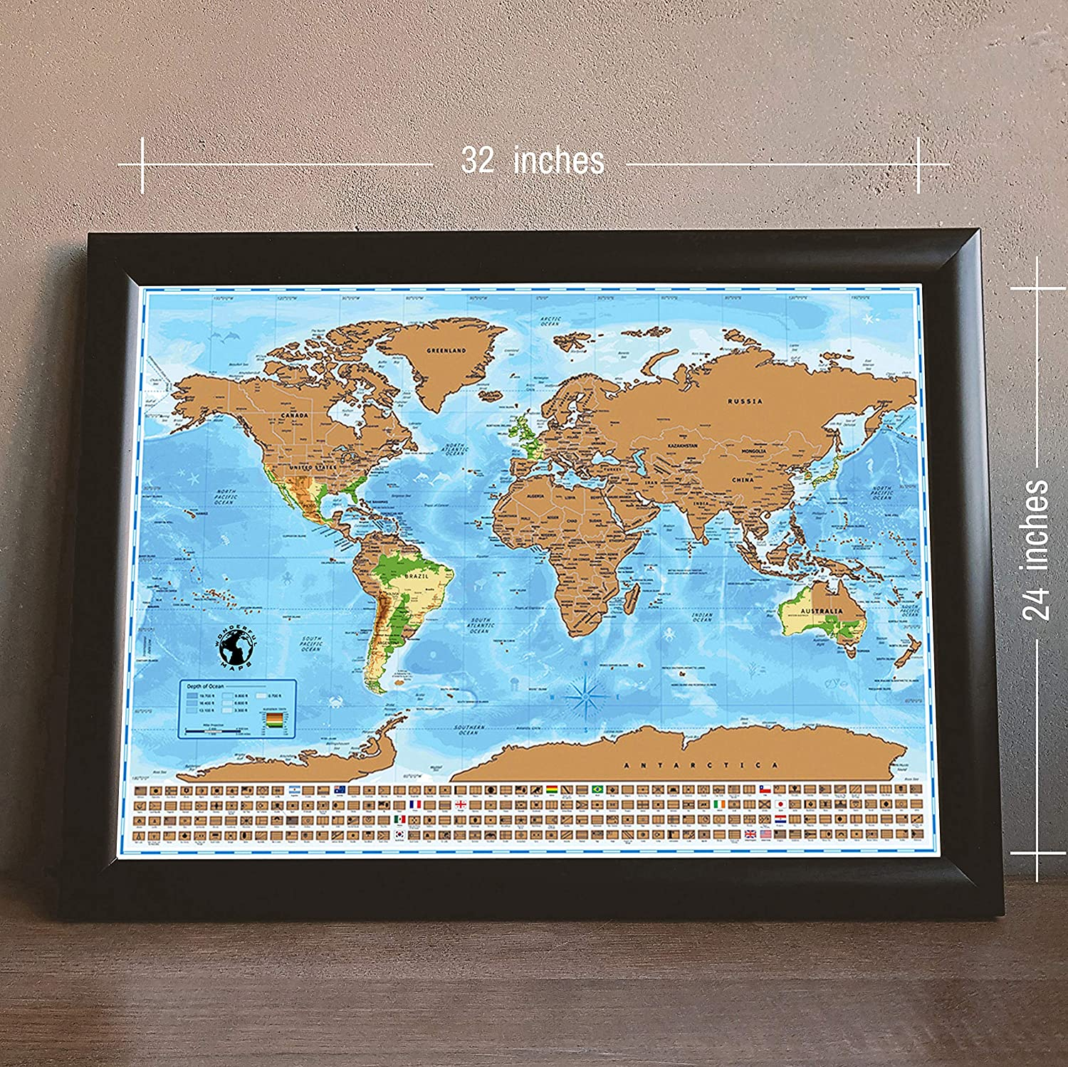 32 Inches X 24 Inches Scratch Off Map Of The World With Us States Countries Capitals