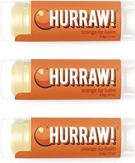 product image for Hurraw! Orange Lip Balm, 3 Pack: Organic, Certified Vegan, Cruelty and Gluten Free. Non-GMO, 100% Natural Ingredients. Bee, Shea, Soy and Palm Free. Made in USA