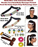 Super India Store Head Belt & Head Roll For Headache Migraine Dizziness Wooden Face Massager-Pointed