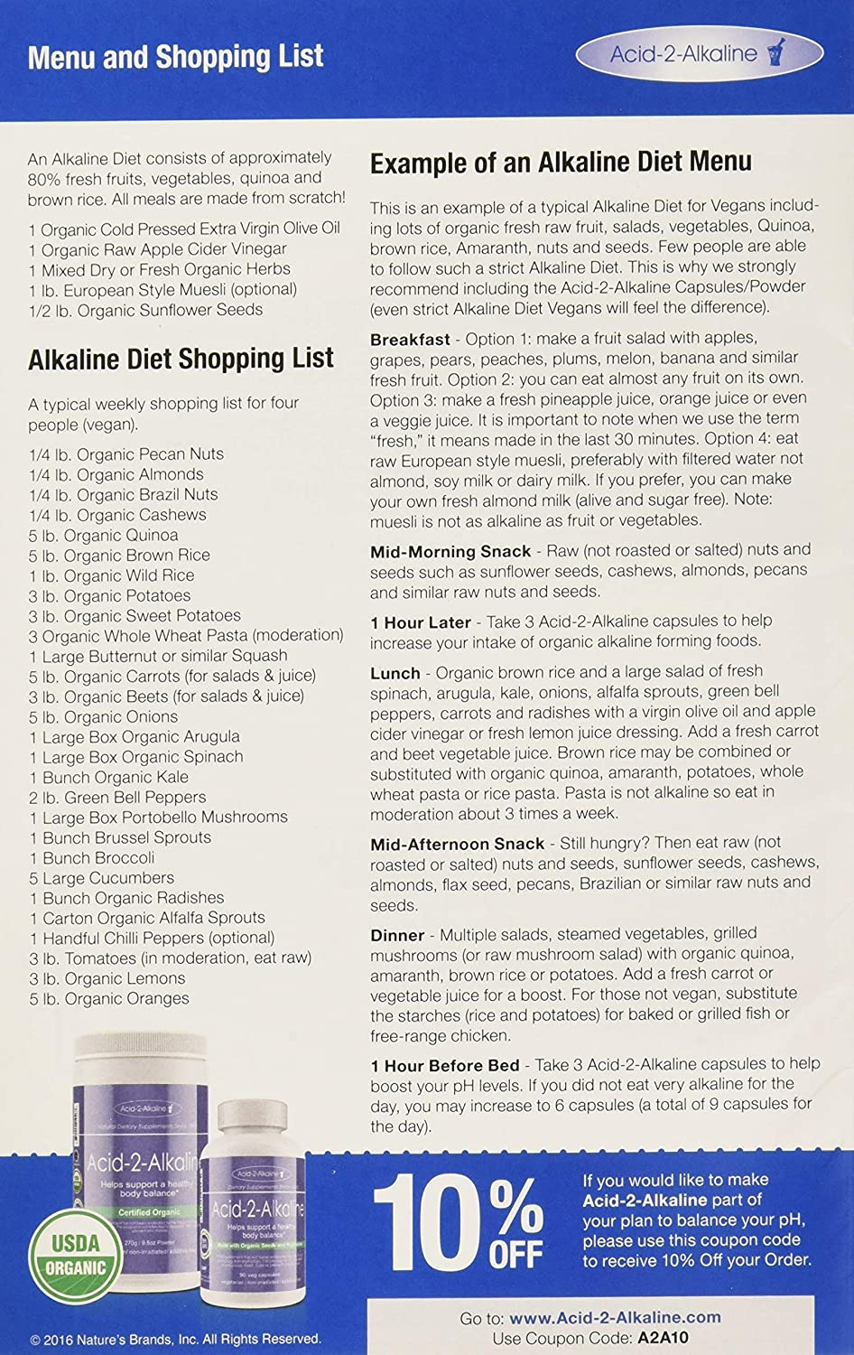 Alkaline Body Balance Informational 12-Page Booklet with Food Chart and  Free pH Test Strip