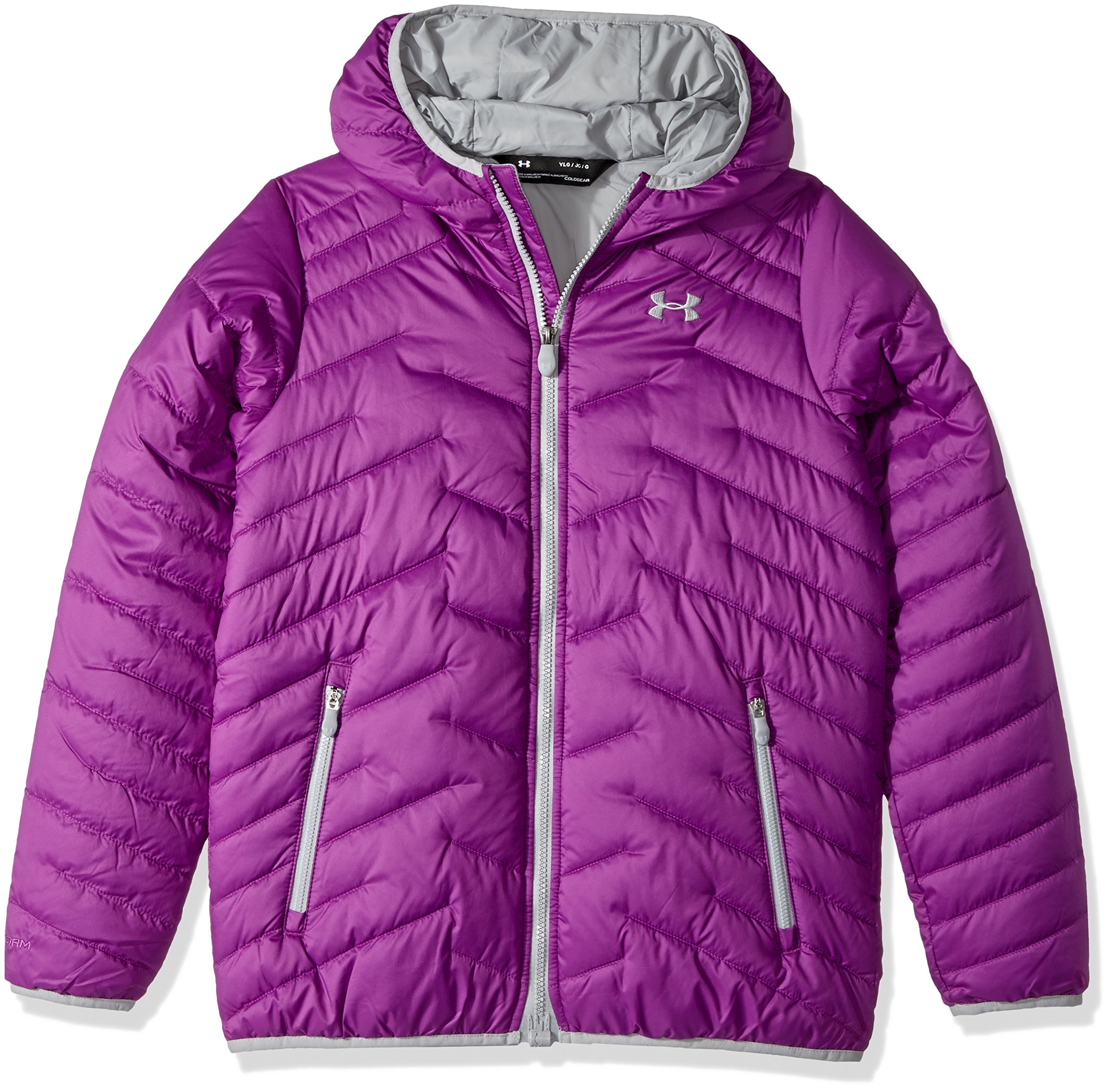 Under Armour Girls' ColdGear Reactor Hooded Jacket, Purple Rave/Overcast Gray, Youth Small by Under Armour