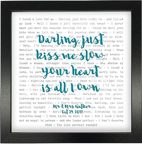 Not Just A Print Ed Sheeran, perfecto – Tipografía letras de canciones impresión enmarcada & boda – aniversario de San Valentín Regalo perfecto para él, ella, par: Amazon.es: Hogar