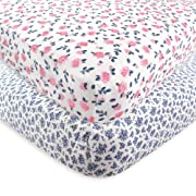 Hudson Baby 2 Piece Cotton Fitted Crib Sheet, Floral, One Size