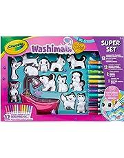 CRAYOLA- Washimals Súper Set Bañera y 12 Colorear y darles un Buen baño a Las Mascotas, Ideal para Juego y Regalo, Desde 3 años, Multicolor (74-7321)