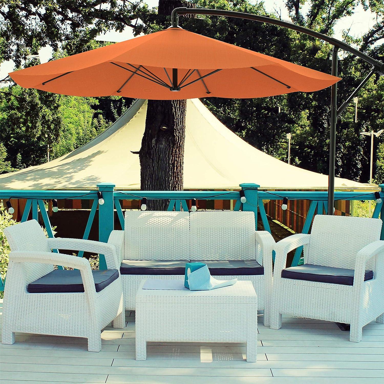 Pure Garden 50-LG1055 Patio Umbrella, Cantilever Hanging Outdoor Shade, 10 ft, Terracotta