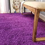 Maxy Home Bella Solid Purple 3 ft. 3 in x 4 ft. 8 in. Shag Area Rug